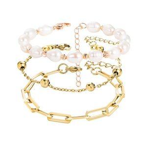 14K Gold Bracelets Pearl Beaded Set